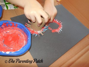 Stamping Red, White, and Blue Fireworks
