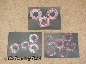 Finished Patriotic Toilet Paper Roll Fireworks Paint Craft