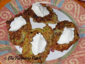 Shallot Potato Zucchini Fritters with Plain Greek Yogurt