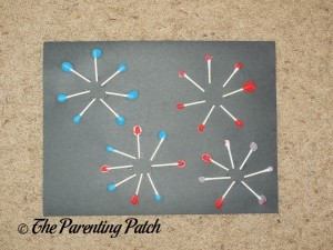 Finished Patriotic Painted Cotton Swabs Fireworks Craft