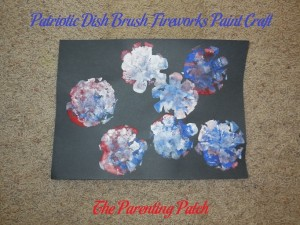 Completed Patriotic Dish Brush Fireworks Paint Craft