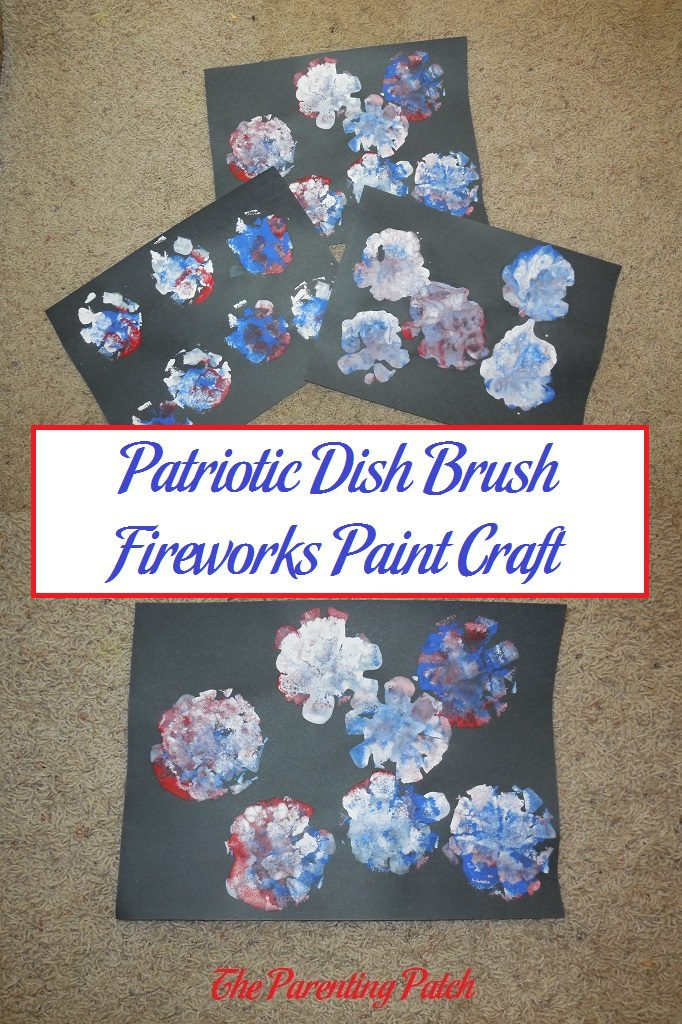 Patriotic Dish Brush Fireworks Paint Craft