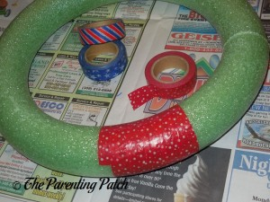 Wrapping the Foam Wreath with Red and White Washi Tape