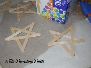 Making Stars with Craft Sticks and Hot Glue