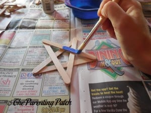 Painting the Craft Stick Stars with Red, White, and Blue Paint