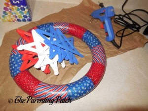 Red, White, and Blue Craft Stick Stars and Patriotic Foam Wreath