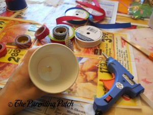 Gluing the Knot for the Patriotic Cup Lantern Craft