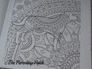 Uncolored Page of Amazing Dogs Adult Coloring Book 3