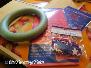 Supplies for Fourth of July Wreath Craft