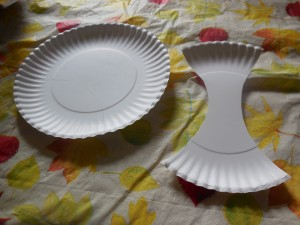 Cutting the Paper Plate for the A Is for Apple Paper Plate Craft