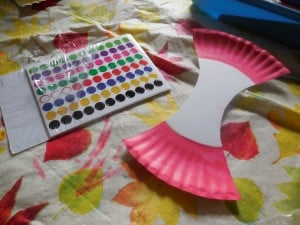 Black Dot Stickers for the Paper Plate for the A Is for Apple Paper Plate Craft