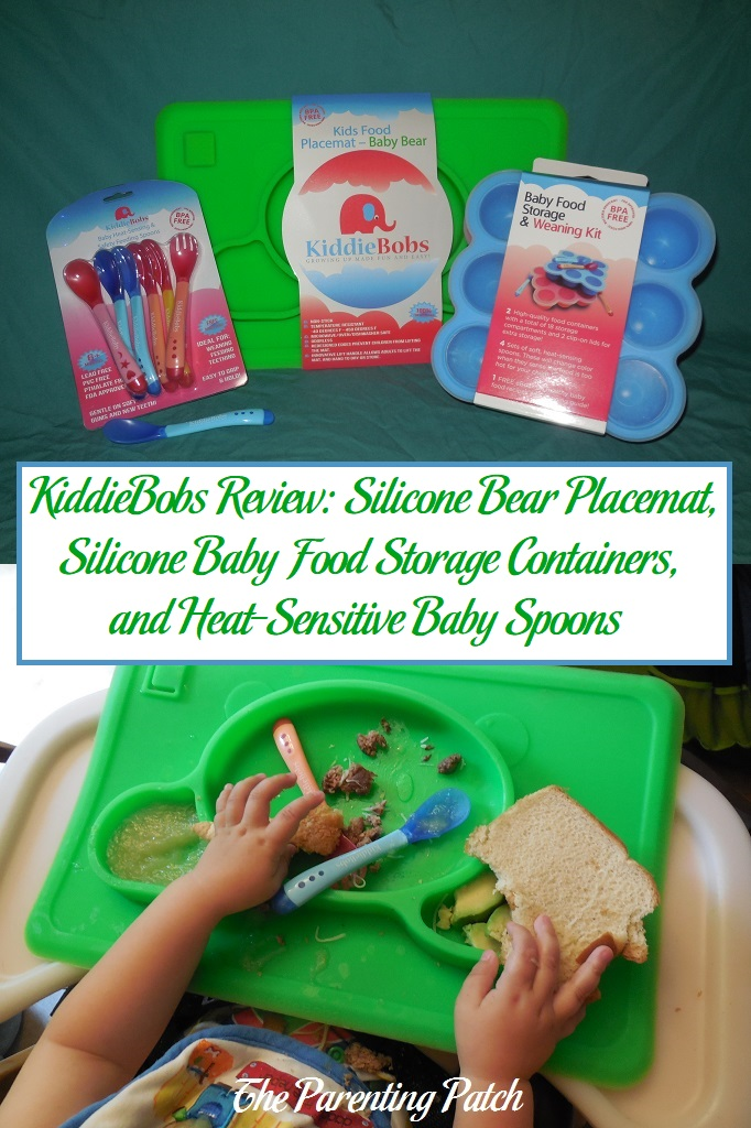 KiddieBobs Review: Silicone Bear Placemat, Silicone Baby Food Storage Containers, and Heat-Sensitive Baby Spoons