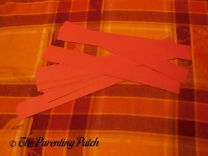 Red Paper Strips for Paper Apple Craft