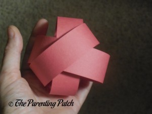 Top of Red Paper Sphere for Paper Apple Craft