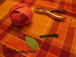 Materials for Stem and Leaves for Paper Apple Craft