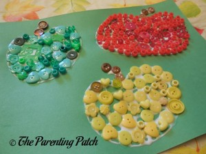 Green, Yellow, and Red Buttons for Button Apples Craft