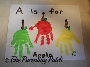 A Is for Apple Handprint Craft 1