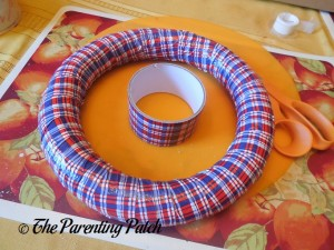 Plaid Duct Taped Foam Wreath for Patriotic Wreath Craft
