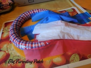 Plastic Tablecloth Strips for Patriotic Wreath Craft