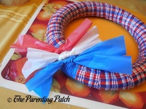 Red, White, and Blue Bow on Patriotic Wreath Craft