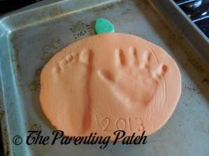 Handprint Pumpkin Fall Salt Dough Ornaments