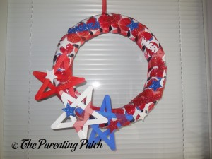 Finished Patriotic Craft Stick Star Wreath Craft