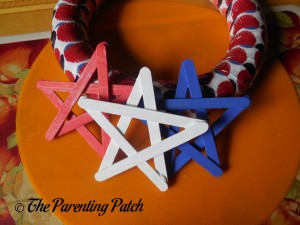 Arranging Stars on Patriotic Craft Stick Star Wreath