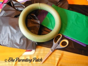 Supplies for Tablecloth Ribbon Halloween Wreath Craft