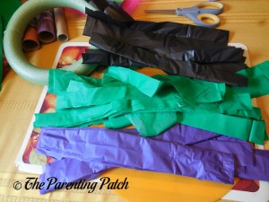 Tablecloth Strips for the Tablecloth Ribbon Halloween Wreath Craft