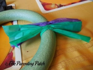 Adding More Tablecloth Strips for the Tablecloth Ribbon Halloween Wreath Craft