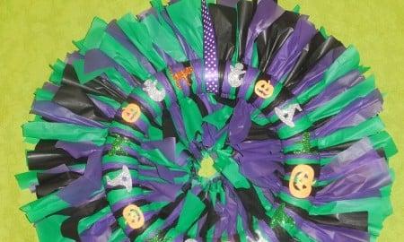 Tablecloth Ribbon Halloween Wreath Craft