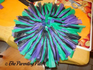 Foam Wreath Covered in Tablecloth Strips for Tablecloth Ribbon Halloween Wreath Craft