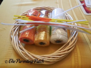 Supplies for Deco Mesh Candy Corn Wreath Craft