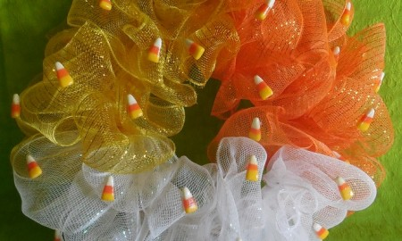Deco Mesh Candy Corn Wreath Craft