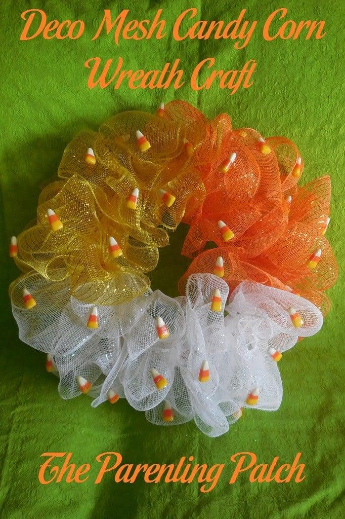 Deco Mesh Candy Corn Wreath Craft