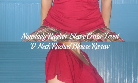 Ninedaily Raglan-Sleeve Cross-Front V-Neck Ruched Blouse Review