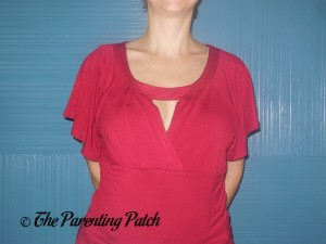 Front of Ninedaily Raglan-Sleeve Cross-Front V-Neck Ruched Blouse 3