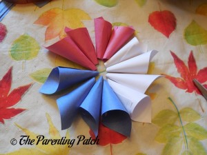Paper Cones for Patriotic Rolled Paper Wreath Craft