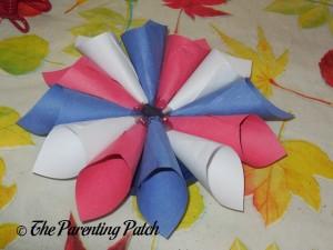 Glued Paper Cones for Patriotic Rolled Paper Wreath Craft