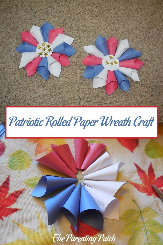 Patriotic rolled paper wreath craft parenting patch for Americana crafts to make