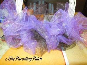 Attaching the Purple Sparkle Tulle for the Sparkle Tulle Halloween Wreath Craft