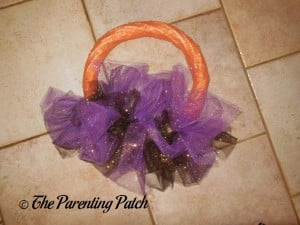 Wreath Wrapped in Sparkle Tulle for the Sparkle Tulle Halloween Wreath Craft