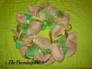 Finished Burlap and Ribbon St. Patrick's Day Wreath