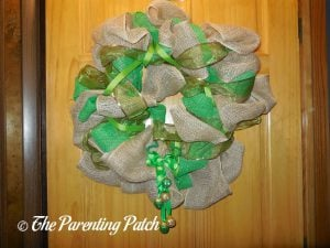 Finished Burlap and Ribbon St. Patrick's Day Wreath with Door Hanger