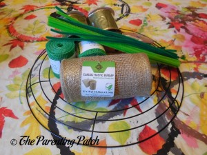 Materials for Burlap and Ribbon St. Patrick's Day Wreath Craft
