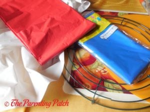 Supplies for Red, White, and Blue Wreath Craft