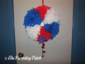 Finished Red, White, and Blue Wreath Craft