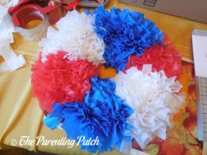 Red, White, and Blue Sections of Red, White, and Blue Wreath Craft