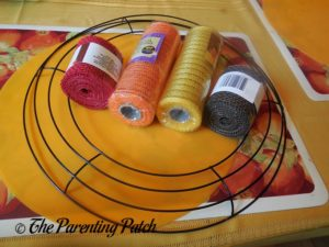 Materials for Deco Mesh and Burlap Ribbon Autumn Wreath Craft