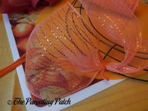 First Deco Mesh Loop of Deco Mesh and Burlap Ribbon Autumn Wreath Craft